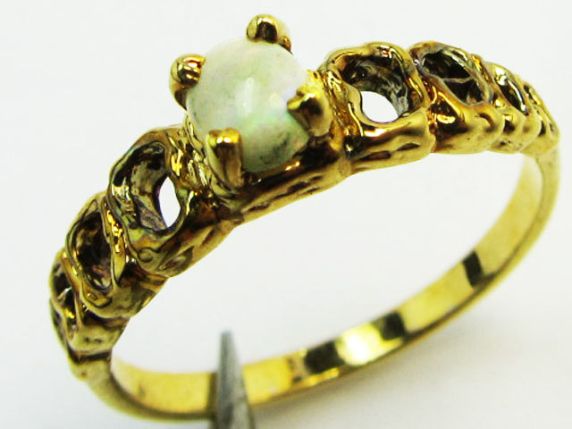 Solid  Opal set in Gold plated Silver ring size 6.5 PL 778