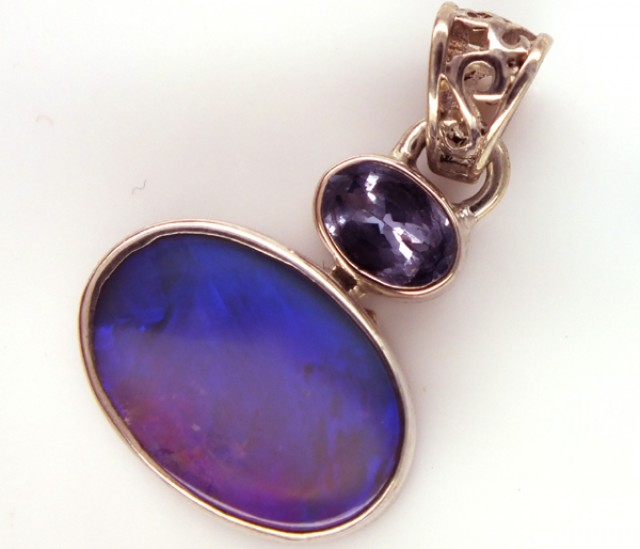 SOLID OPAL TANZANITE SILVER PENDANT 14.95 CTS OF-310