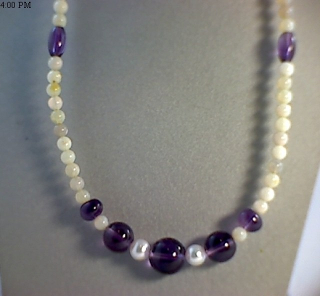 Beautiful Australian White Opal Beads With Amethyst JM60