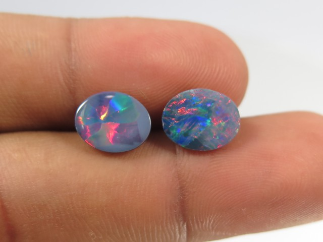 3.4ct Pair - Coober Pedy Opal - Great Color Flashes GO9