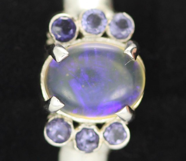 7.5 RING SIZE OPAL +TANZANITE RING SILVER-FACTORY [SOJ3561A]
