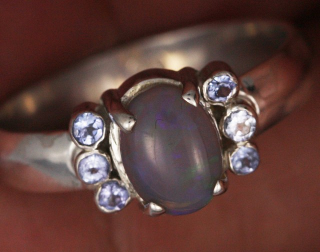 8 RING SIZE OPAL+TANZANITE SILVER -FACTORY DIRECT [SOJ3569]