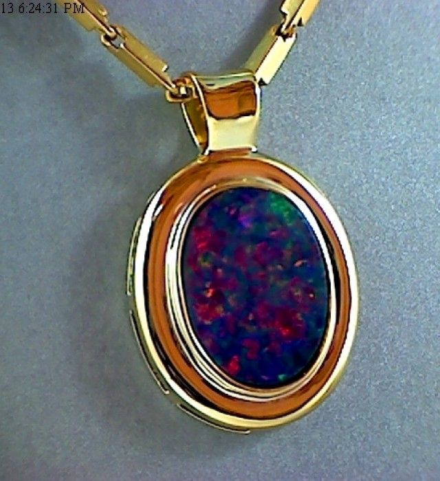Gorgeous Boulder Opal on 14K Gold Plated Pendant ST06