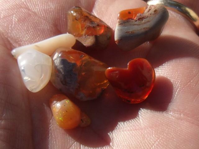 33.01 Cts. Lot (T-11) 7 pcs Tumbled mexican fire opals