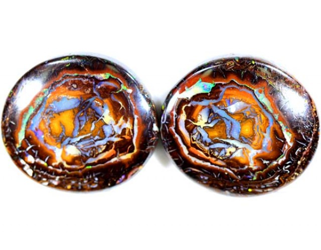 QUALITY YOWAH POLISHED PAIR NICE PATTERN *68.7* CTS   TO-188