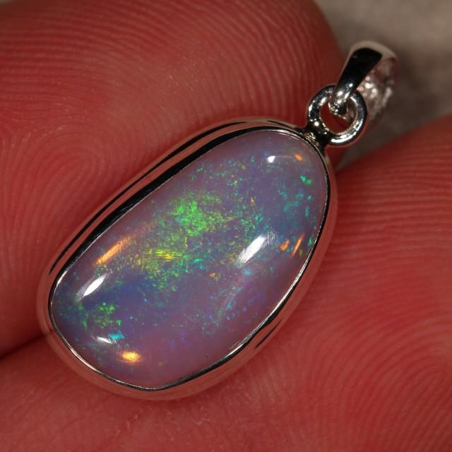 Welo Opal Pendant Sterling Silver Ethiopian Fire Necklace