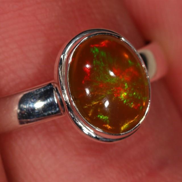 Sz 10 Ethiopian Welo Darkbase Opal Ring. Sterling Silver.