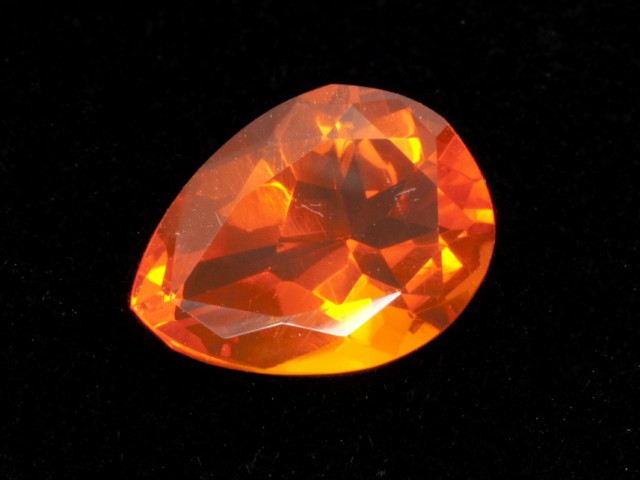 3ct Faceted Dark-Orange Pear Mexican Fire Opal (MO179)