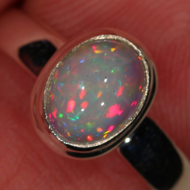 SZ 6, 5, 4 Adjustable Opal Ring Sterling Silver Ethiopian