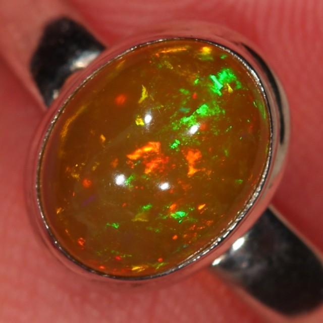 Sz 9 Ethiopian Welo Opal Ring Sterling Silver Fire Crystal