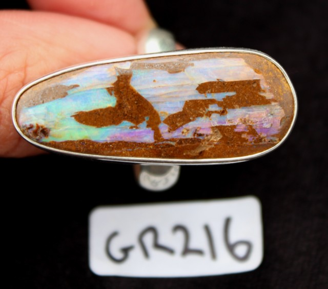 BOULDER OPAL RING, Sterling silver, AUSTRALIA (GR217)