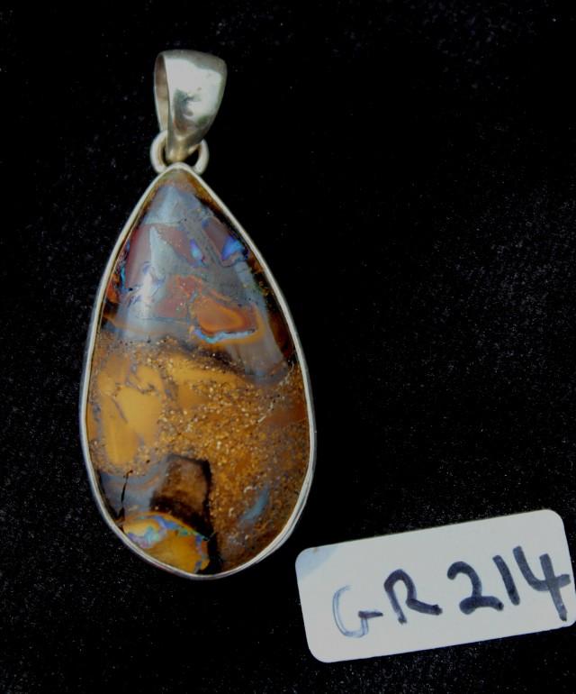 BOULDER OPAL PENDENT, Sterling silver, AUSTRALIA (GR214)