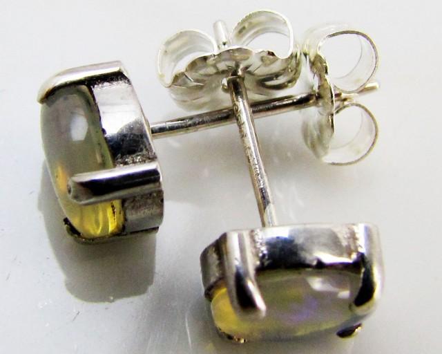 Natural Blue crystal opal Earrings in silver PL 985