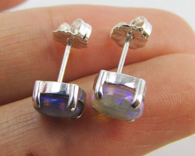 Natural Blue crystal opal Earrings in silver PL 986