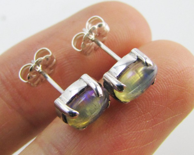 Natural Blue crystal opal Earrings in silver PL 988