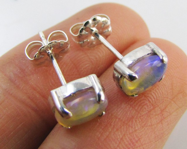 Natural Blue crystal opal Earrings in silver PL 989