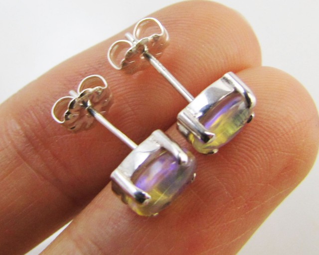 Natural Blue crystal opal Earrings in silver PL 990