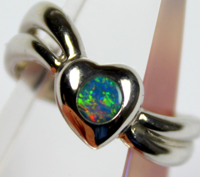 7.5 RING SIZE BLACK OPAL CRYSTAL INLAY STERLING SILVER 925 C4431