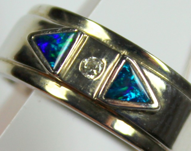 7.5 RING SIZE BLACK OPAL CRYSTAL INLAY STERLING SILVER 925 C4445