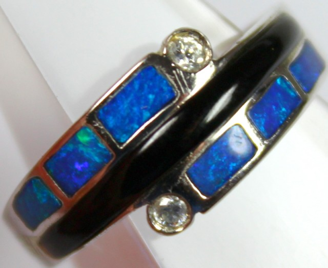 7.5 RING SIZE BLACK OPAL CRYSTAL INLAY STERLING SILVER 925 C4451