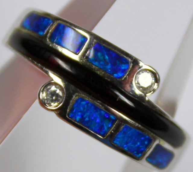 7.5 RING SIZE BLACK OPAL CRYSTAL INLAY STERLING SILVER 925 C4453
