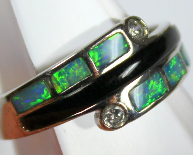 7.5 RING SIZE BLACK OPAL CRYSTAL INLAY STERLING SILVER 925 C4462