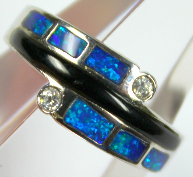 7.5 RING SIZE BLACK OPAL CRYSTAL INLAY STERLING SILVER 925 C4466
