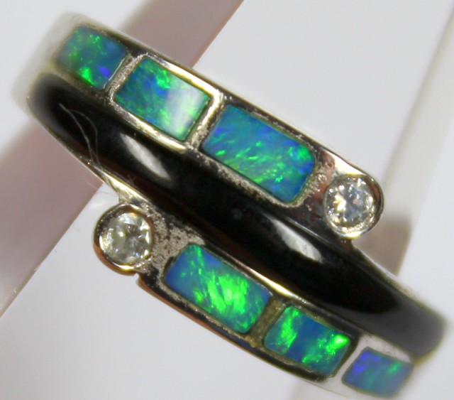 7.5 RING SIZE BLACK OPAL CRYSTAL INLAY STERLING SILVER 925 C4467