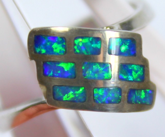7 RING SIZE BLACK OPAL CRYSTAL INLAY STERLING SILVER 925 C4468