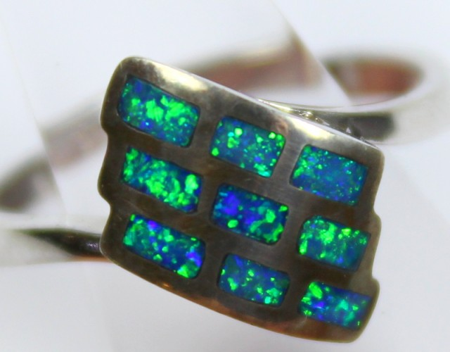 7.5 RING SIZE BLACK OPAL CRYSTAL INLAY STERLING SILVER 925 C4470