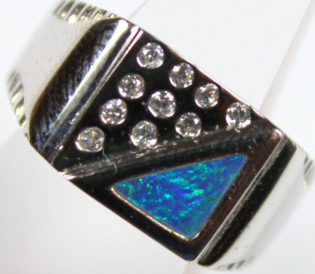 7.5 RING SIZE BLACK OPAL CRYSTAL INLAY STERLING SILVER 925 C4480