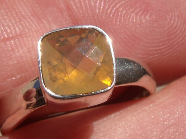 Bezel set Opal gem taxco silver ring sz 7.5