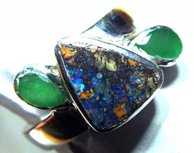 RING BOULDER SOLID OPAL  28.5 CTS SIZE-7.5  OF-326