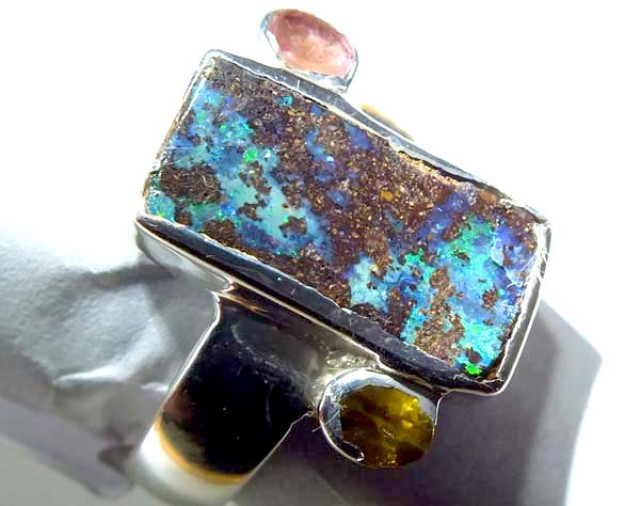 RING BOULDER SOLID OPAL  36.5 CTS SIZE- 8 OF-327