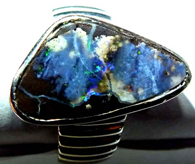 RING BOULDER SOLID OPAL  44.3 CTS SIZE-  8.25OF-329