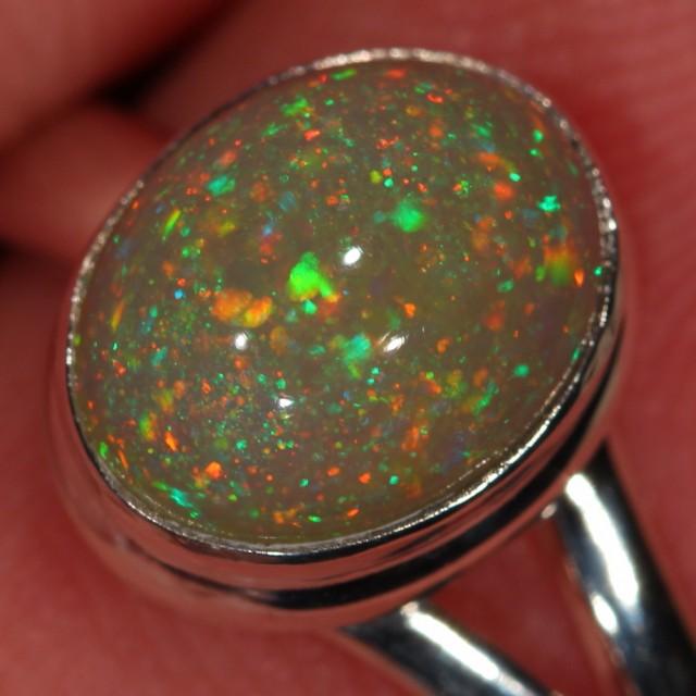 SZ 8, 7, 6, 5 Adjustable Ethiopian Opal Ring Sterling Silver