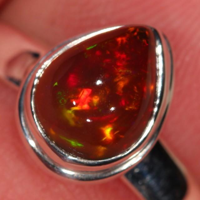 Sz 6 Ethiopian Welo Opal Ring. Sterling Silver. Fire
