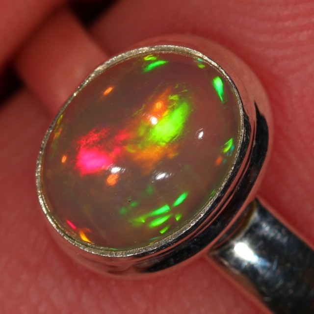 SZ 8, 7, 6, 5 Adjustable Ethiopian Opal Ring Sterling Silver