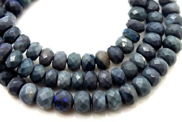 BLACK OPAL BEADS FACETED  DRILLED NECKLACE 85 CTS TBO 906