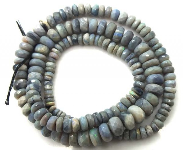 70 CTS BLACK OPAL BEADS FACETED  DRILLED NECKLACE TBO-933
