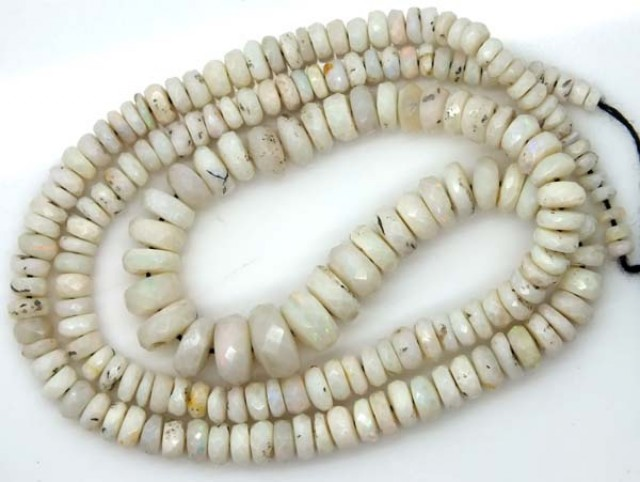60  CTS  WHITE OPAL BEADS FACETED  DRILLED NECKLACE TBO-947
