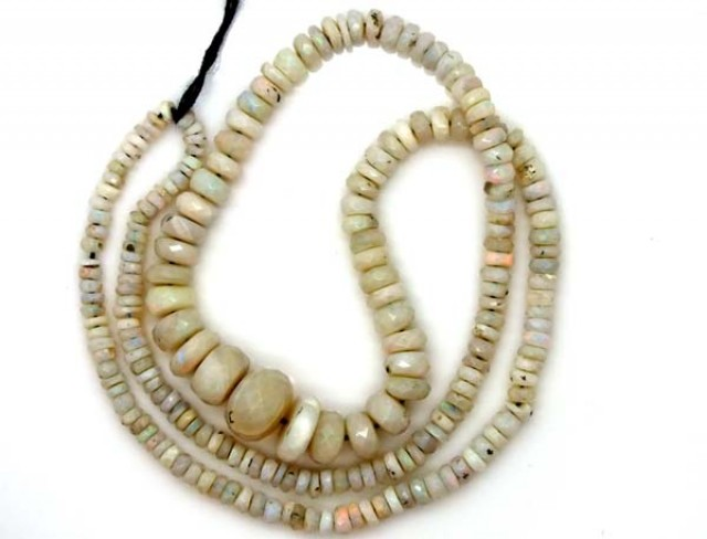 WHITE OPAL BEADS FACETED  DRILLED NECKLACE 55 CTS  TBO-956