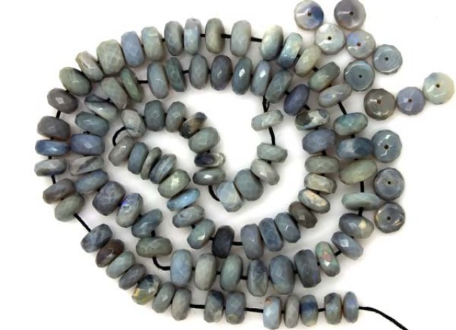 104  CTS BLACK OPAL BEADS FACETED  DRILLED  TBO-962