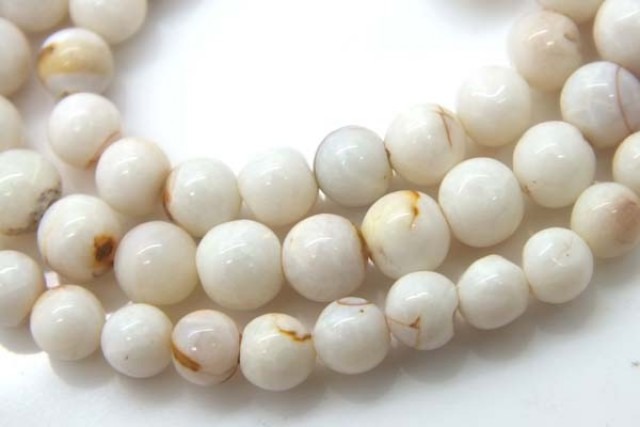 WHITE OPAL BEADS 55 CTS  TBO-977