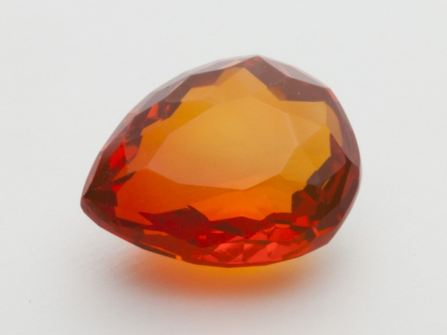 8.1ct Faceted Dark Orange Pear Mexican Fire Opal (MO193)