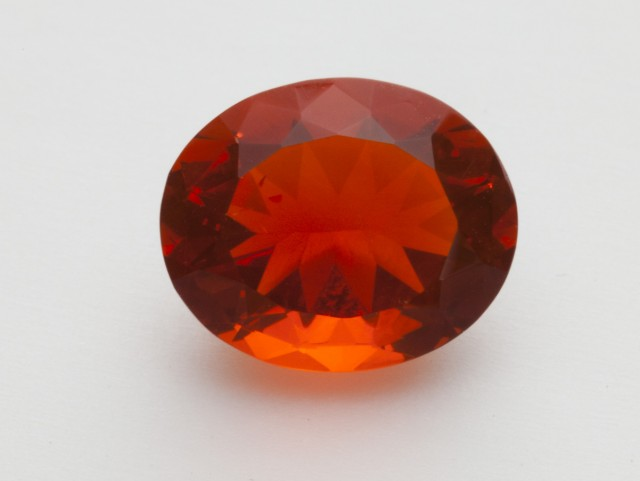 3.4ct Faceted Dark-Orange Oval Mexican Fire Opal (MO220)