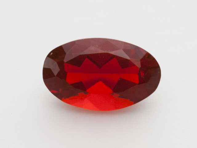 3.3ct Faceted Red Oval Mexican Fire Opal (MO252)