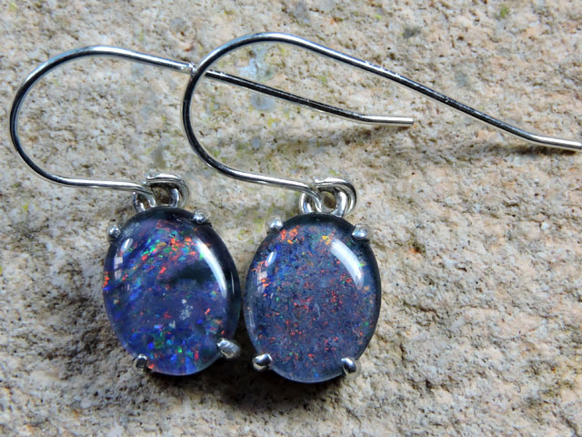 8x6mm Triplet opal Earrings  silver  Sheppard hooks PL 1009