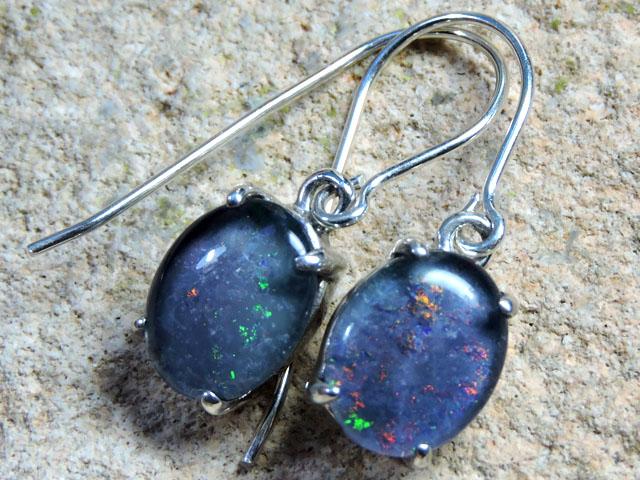 8x6mm Triplet opal Earrings  silver  Sheppard hooks PL 1013