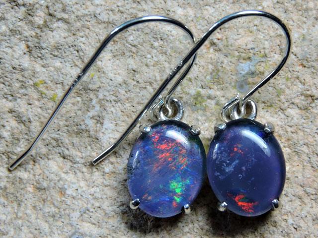 9X7mm Triplet opal Earrings  silver  Sheppard hooks PL 1015